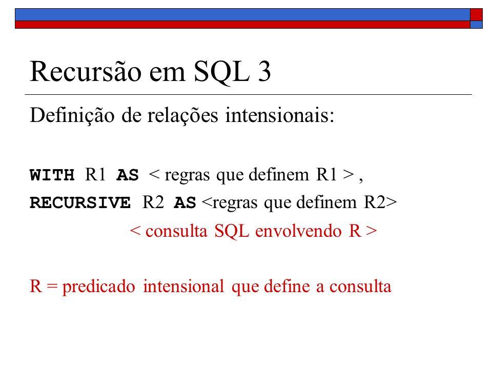Recursão em SQL 3 Definição de relações intensionais: WITH R1 AS, RECURSIVE R2 AS R = predicado intensional que define a consulta