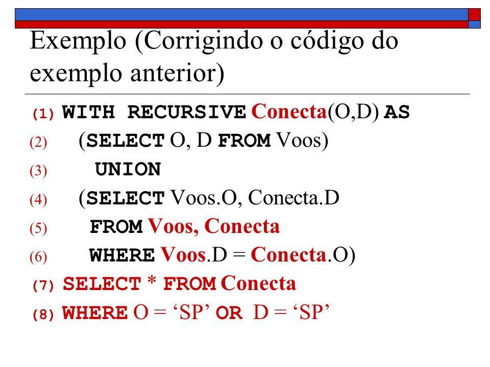 Exemplo (Corrigindo o código do exemplo anterior) (1) WITH RECURSIVE Conecta(O,D) AS (2) ( SELECT O, D FROM Voos) (3) UNION (4) ( SELECT Voos.O, Conec