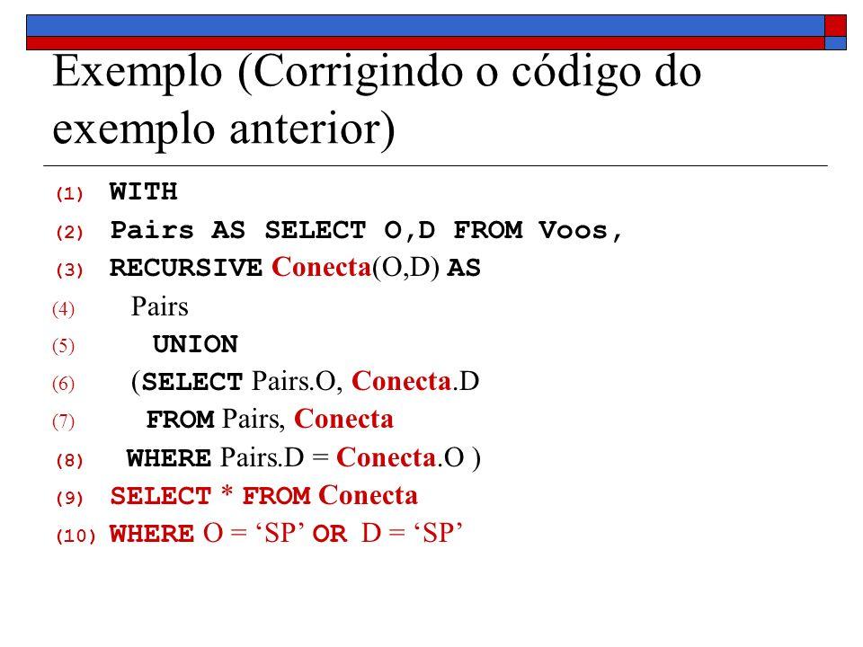 Exemplo (Corrigindo o código do exemplo anterior) (1) WITH (2) Pairs AS SELECT O,D FROM Voos, (3) RECURSIVE Conecta(O,D) AS (4) Pairs (5) UNION (6) (