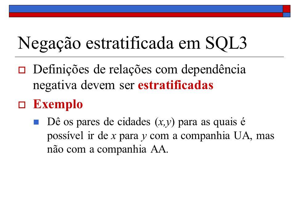 Negação estratificada em SQL3 Definições de relações com dependência negativa devem ser estratificadas Exemplo Dê os pares de cidades (x,y) para as qu