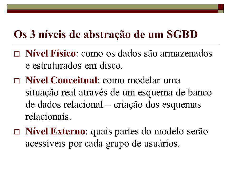 Os 3 níveis de abstração de um SGBD Nível Físico: como os dados são armazenados e estruturados em disco. Nível Conceitual: como modelar uma situação r