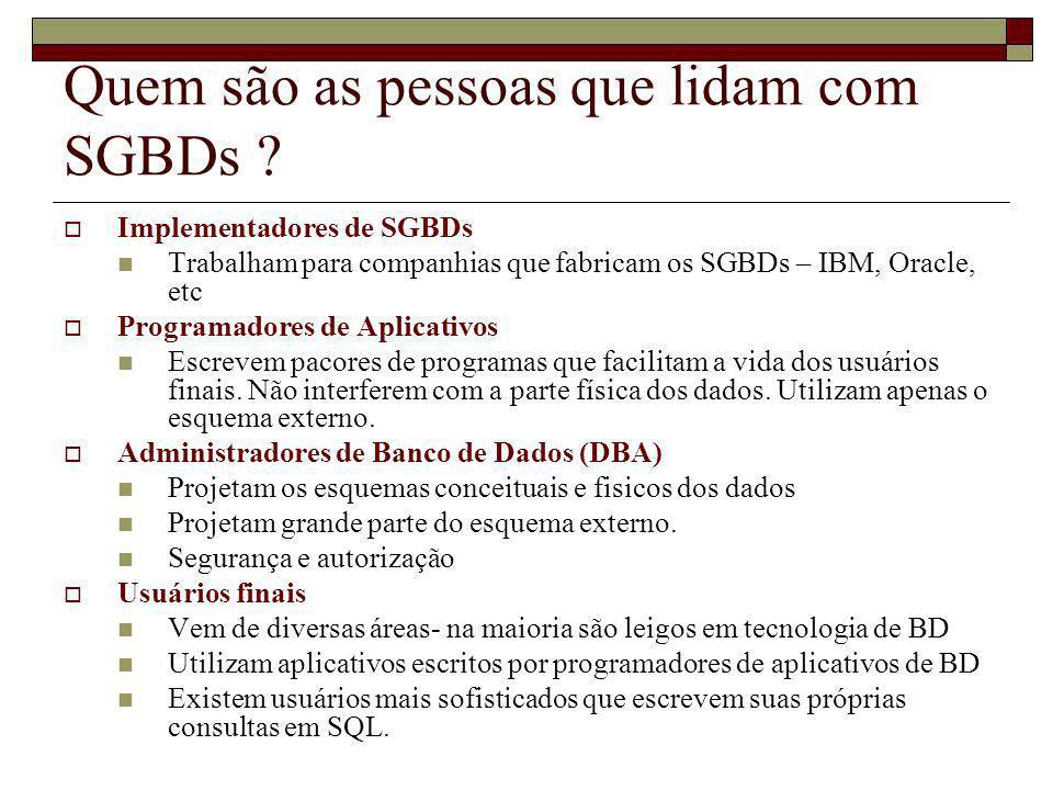 Quem são as pessoas que lidam com SGBDs ? Implementadores de SGBDs Trabalham para companhias que fabricam os SGBDs – IBM, Oracle, etc Programadores de