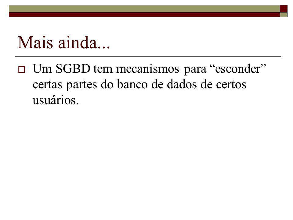 Mais ainda... Um SGBD tem mecanismos para esconder certas partes do banco de dados de certos usuários.