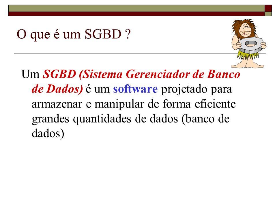 Sistemas de Arquivos versus SGBDs Gerenciamento de grandes quantidades de dados – passagem da memória principal para a memória secundária (ex.
