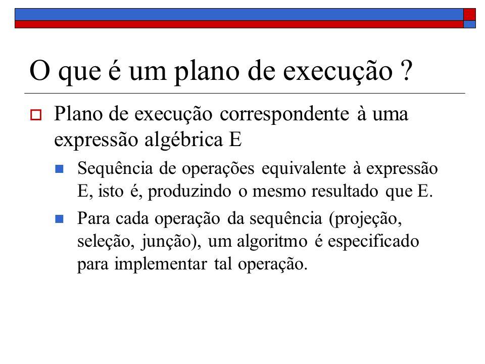 O que é um plano de execução ? Plano de execução correspondente à uma expressão algébrica E Sequência de operações equivalente à expressão E, isto é,