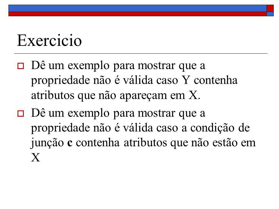 Exercicio Dê um exemplo para mostrar que a propriedade não é válida caso Y contenha atributos que não apareçam em X. Dê um exemplo para mostrar que a