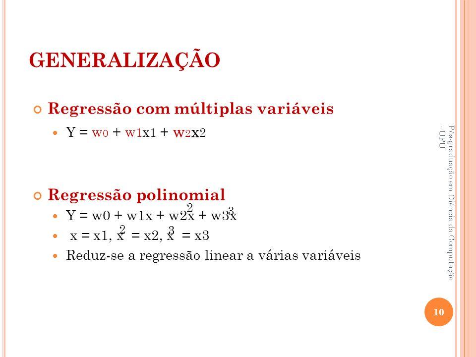 GENERALIZAÇÃO Regressão com múltiplas variáveis Y = w 0 + w 1 x 1 + w 2 x 2 Regressão polinomial Y = w0 + w1x + w2x + w3x x = x1, x = x2, x = x3 Reduz