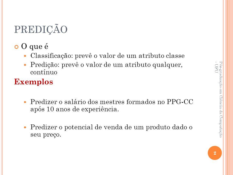 PREDIÇÃO O que é Classificação: prevê o valor de um atributo classe Predição: prevê o valor de um atributo qualquer, contínuo Exemplos Predizer o salá
