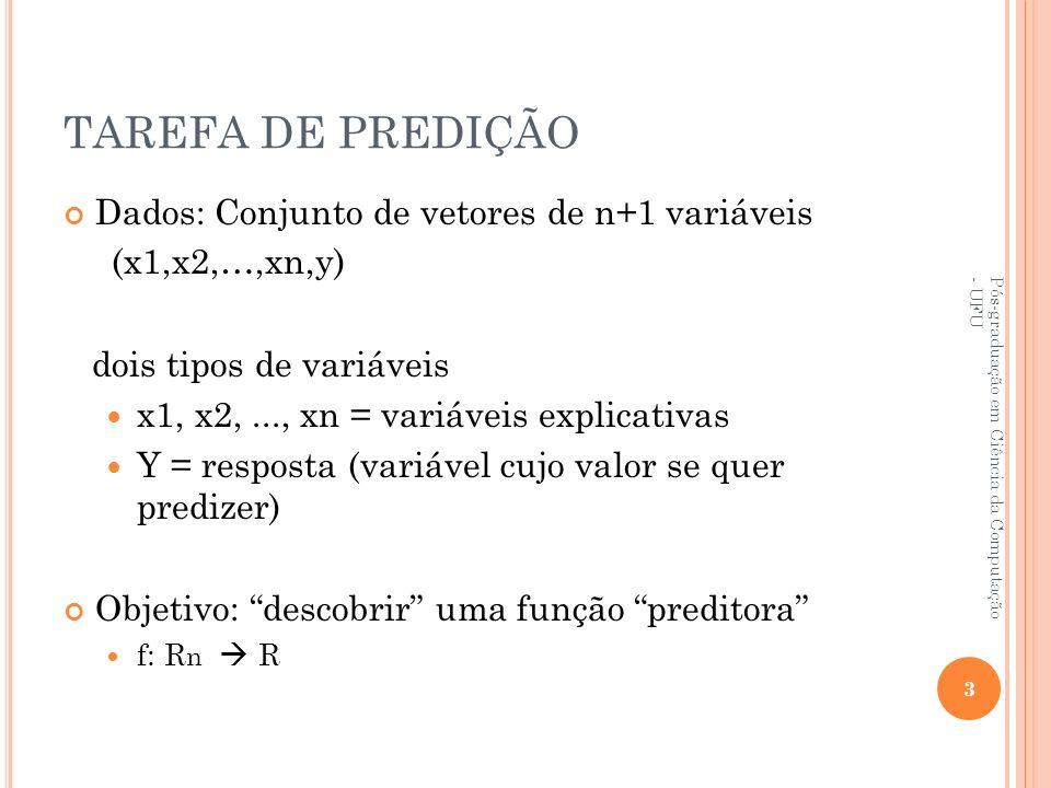 TAREFA DE PREDIÇÃO Dados: Conjunto de vetores de n+1 variáveis (x1,x2,…,xn,y) dois tipos de variáveis x1, x2,..., xn = variáveis explicativas Y = resp