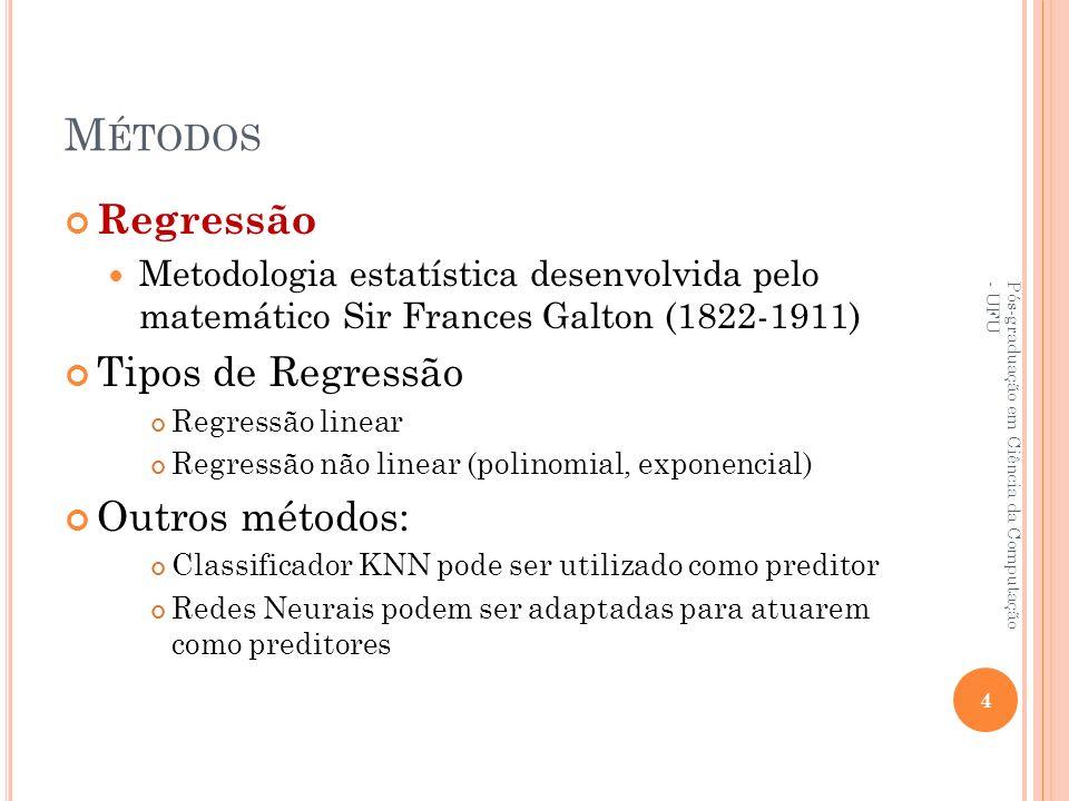 M ÉTODOS Regressão Metodologia estatística desenvolvida pelo matemático Sir Frances Galton (1822-1911) Tipos de Regressão Regressão linear Regressão n