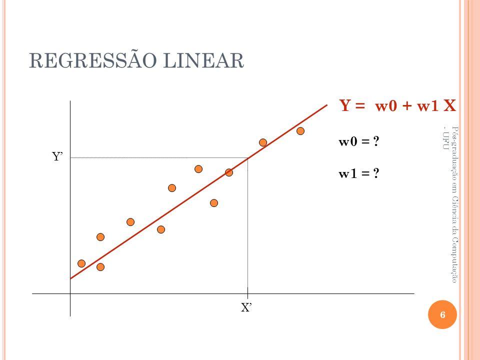 REGRESSÃO LINEAR FUNÇÃO PREDITORA = RETA w 1 = Σ (x i – x)(y i – y) Σ (x i – x) i = 1 m m 2 w 0 = y – w 1 x x = média dos valores de x1,...,xm y = média dos valores de y1,...,ym Equação da reta preditora y = w0 + w1x Pós-graduação em Ciência da Computação - UFU 7 F(x) = w1 X + w0