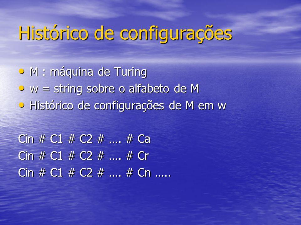 Histórico de configurações M : máquina de Turing M : máquina de Turing w = string sobre o alfabeto de M w = string sobre o alfabeto de M Histórico de