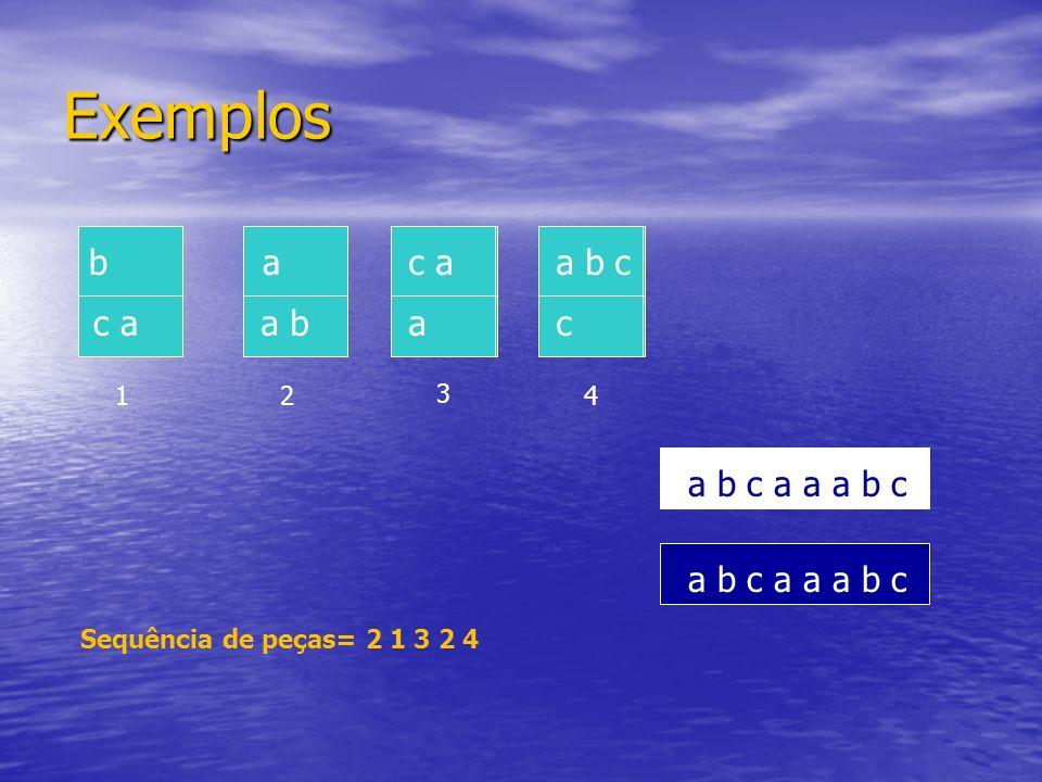 a b c a a a b c Exemplos a b c b c a a a b c c a a 12 3 4 a a b a b c a a a b c c Sequência de peças= 2 1 3 2 4 a b c a a a b c