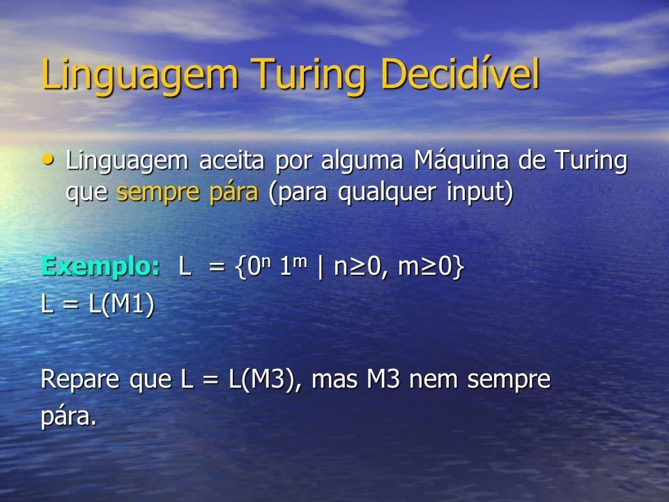 Linguagem Turing Decidível Linguagem aceita por alguma Máquina de Turing que sempre pára (para qualquer input) Linguagem aceita por alguma Máquina de Turing que sempre pára (para qualquer input) Exemplo: L = {0 n 1 m | n0, m0} L = L(M1) Repare que L = L(M3), mas M3 nem sempre pára.