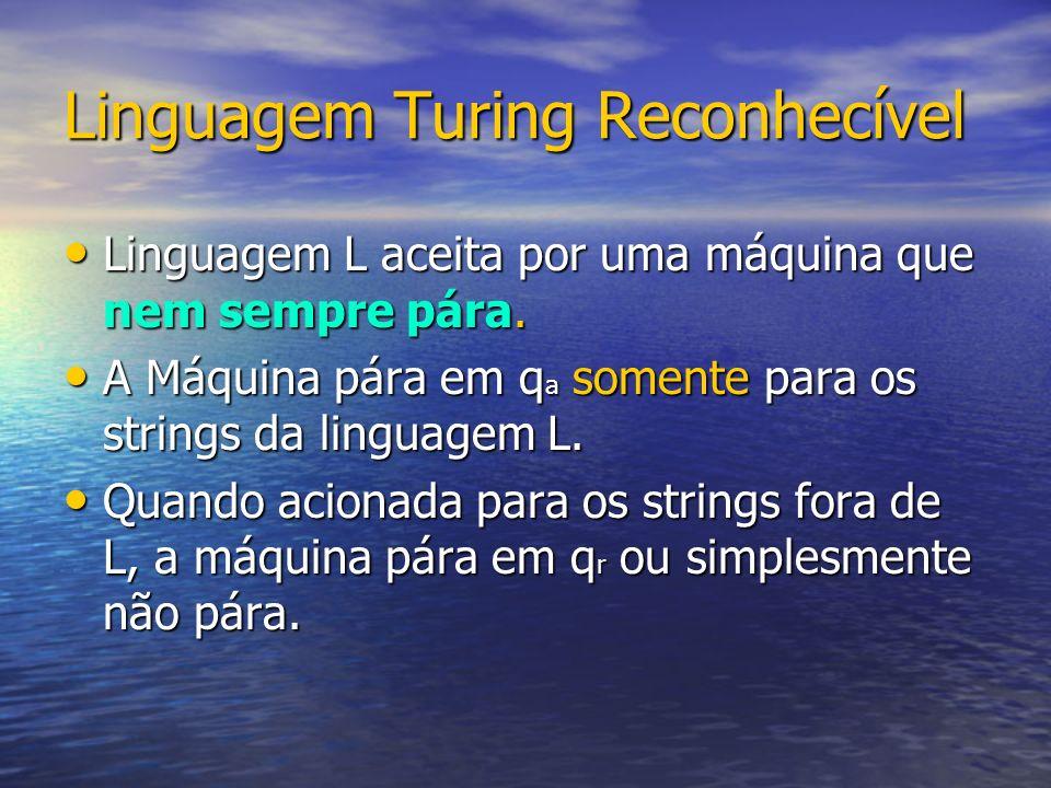 Linguagem Turing Reconhecível Linguagem L aceita por uma máquina que nem sempre pára.