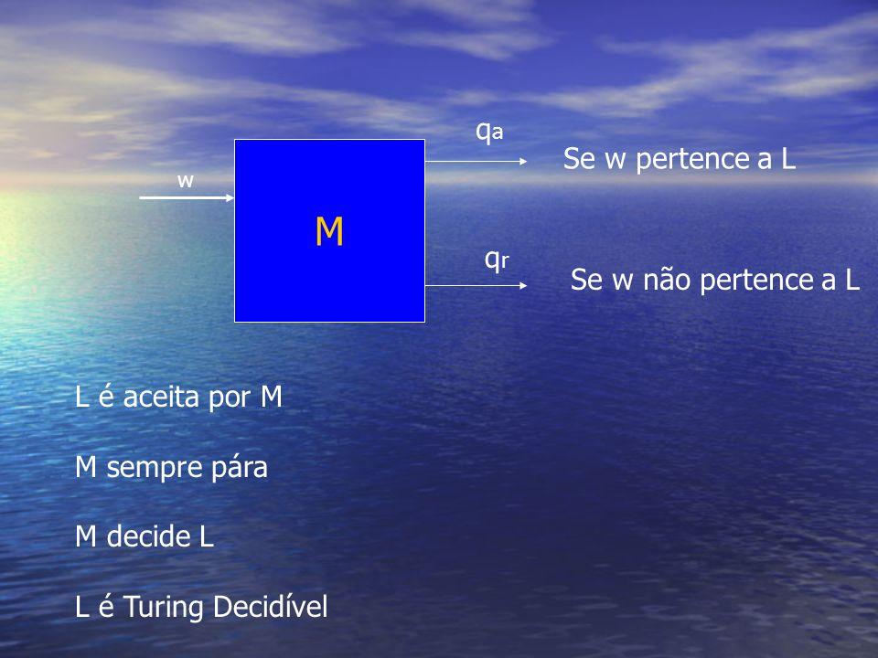 M w qaqa Se w pertence a L qrqr Se w não pertence a L L é aceita por M M sempre pára M decide L L é Turing Decidível