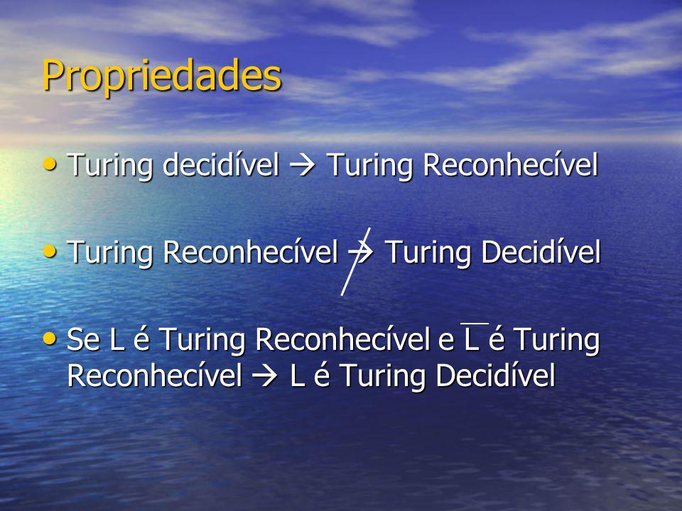 Propriedades Turing decidível Turing Reconhecível Turing decidível Turing Reconhecível Turing Reconhecível Turing Decidível Turing Reconhecível Turing Decidível Se L é Turing Reconhecível e L é Turing Reconhecível L é Turing Decidível Se L é Turing Reconhecível e L é Turing Reconhecível L é Turing Decidível