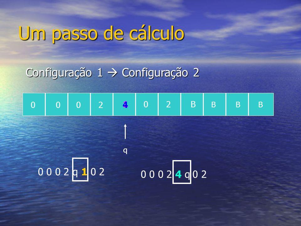 Um passo de cálculo q 0 0 0 2 q 1 0 2 0 0 0 2 4 q 0 2 0002 102B BBB 4 Configuração 1 Configuração 2