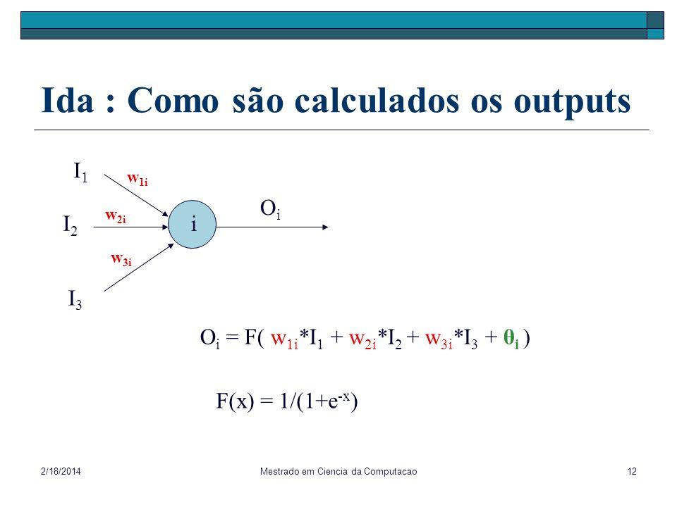 2/18/2014Mestrado em Ciencia da Computacao12 Ida : Como são calculados os outputs I1I1 I2I2 I3I3 i w 2i w 3i w 1i O i = F( w 1i *I 1 + w 2i *I 2 + w 3