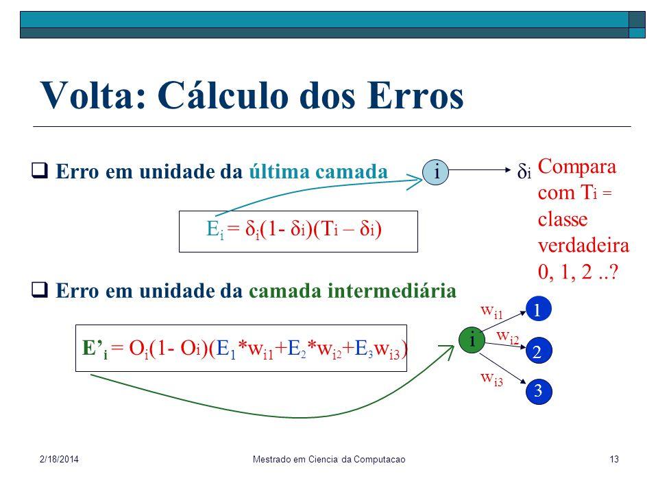 2/18/2014Mestrado em Ciencia da Computacao13 Volta: Cálculo dos Erros δiδi Erro em unidade da última camada Compara com T i = classe verdadeira 0, 1,