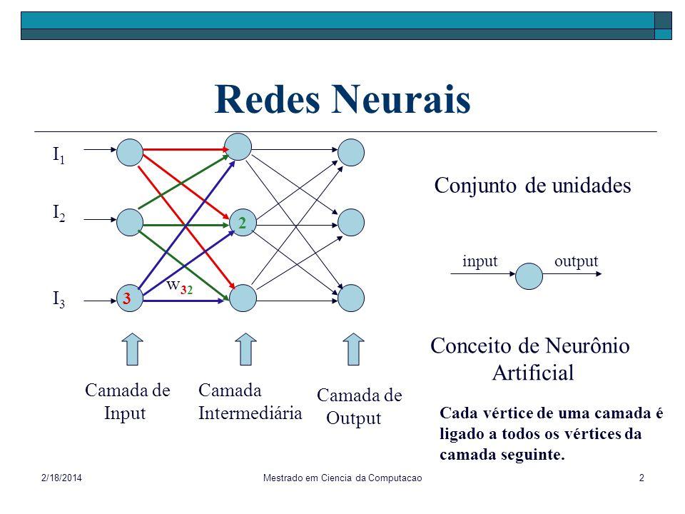 2/18/2014Mestrado em Ciencia da Computacao2 Redes Neurais 2 I1I1 I3I3 I2I2 Camada Intermediária Camada de Output Camada de Input w32w32 3 Conjunto de