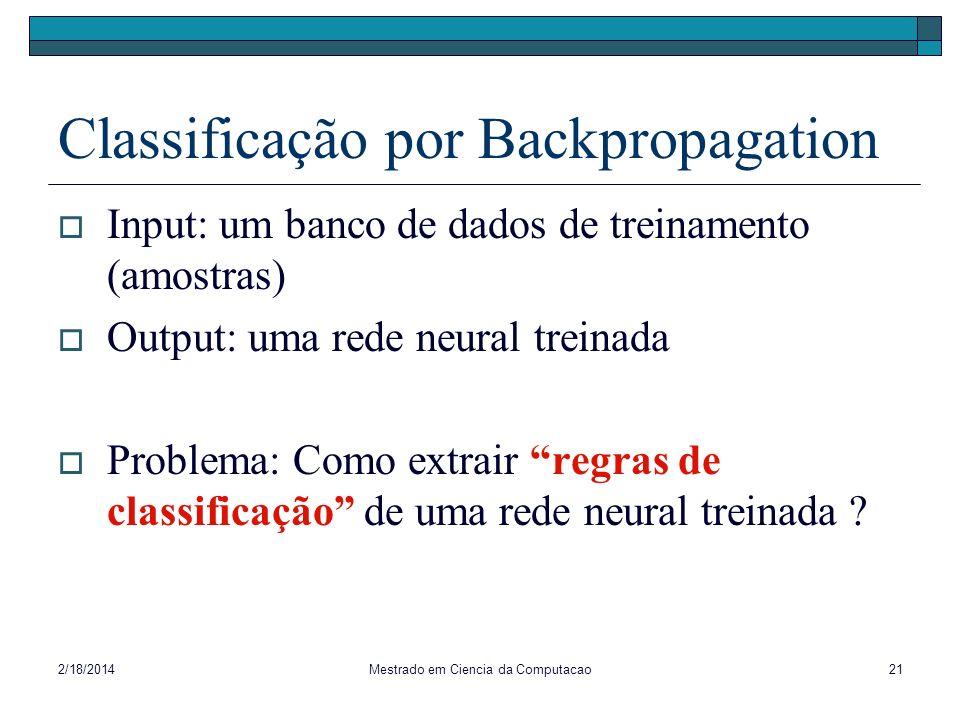 2/18/2014Mestrado em Ciencia da Computacao21 Classificação por Backpropagation Input: um banco de dados de treinamento (amostras) Output: uma rede neu