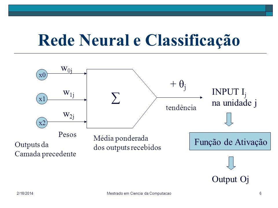 2/18/2014Mestrado em Ciencia da Computacao6 Rede Neural e Classificação INPUT I j na unidade j + θ j w 0j w 1j w 2j x0 x2 x1 Output Oj Função de Ativa