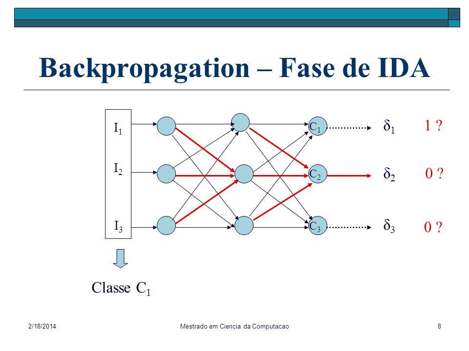 2/18/2014Mestrado em Ciencia da Computacao8 Backpropagation – Fase de IDA I1I1 I3I3 I2I2 C1C1 C2C2 C3C3 Classe C 1 δ1δ1 δ2δ2 δ3δ3 1 ? 0 ?