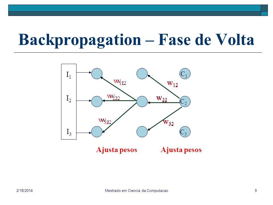 2/18/2014Mestrado em Ciencia da Computacao9 Backpropagation – Fase de Volta I1I1 I3I3 I2I2 C1C1 C2C2 C3C3 Ajusta pesos w 22 w 32 w 12 w 32 w 22 Ajusta