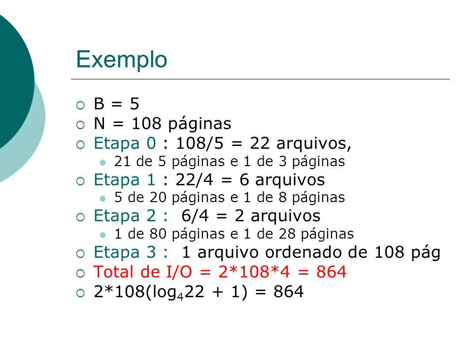 Exemplo B = 5 N = 108 páginas Etapa 0 : 108/5 = 22 arquivos, 21 de 5 páginas e 1 de 3 páginas Etapa 1 : 22/4 = 6 arquivos 5 de 20 páginas e 1 de 8 pág
