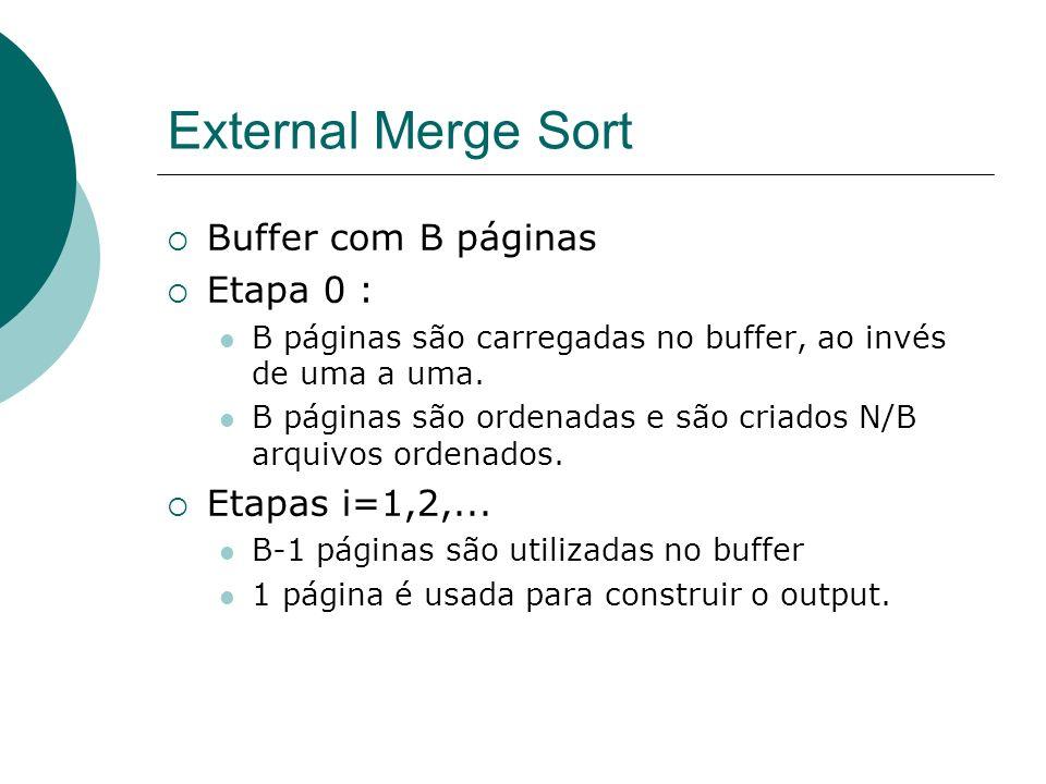 External Merge Sort Buffer com B páginas Etapa 0 : B páginas são carregadas no buffer, ao invés de uma a uma. B páginas são ordenadas e são criados N/