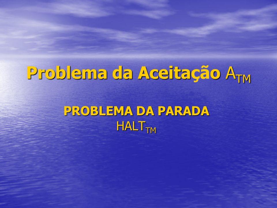 Problema da Aceitao A TM Problema da Aceitação A TM PROBLEMA DA PARADA HALT TM