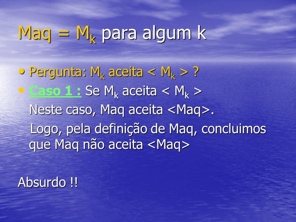 Maq = M k para algum k Pergunta: M k aceita ? Pergunta: M k aceita ? Se M k aceita Caso 1 : Se M k aceita Neste caso, Maq aceita. Logo, pela definição