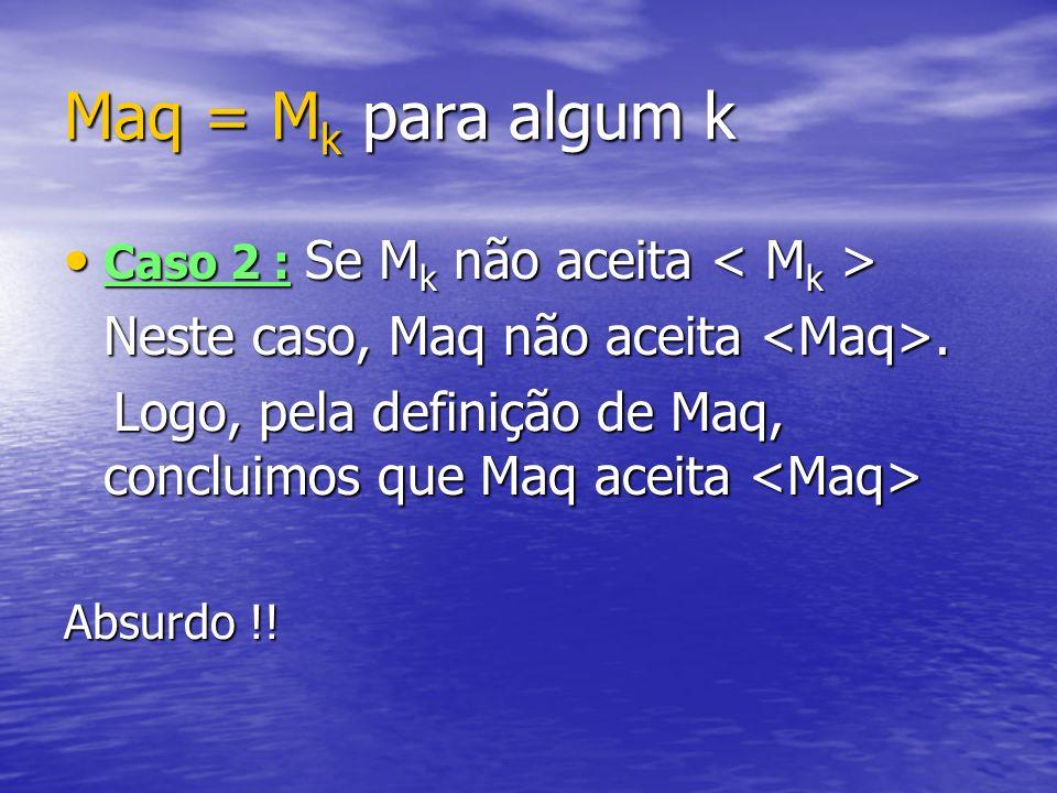 Maq = M k para algum k Caso 2 : Se M k não aceita Caso 2 : Se M k não aceita Neste caso, Maq não aceita. Logo, pela definição de Maq, concluimos que M