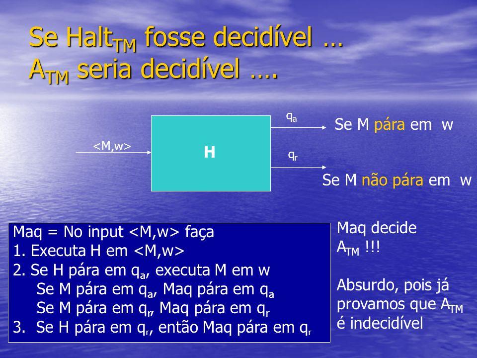 Se Halt TM fosse decidível … A TM seria decidível …. qaqa qrqr Se M pára em w H Se M não pára em w Maq = No input faça 1.Executa H em 2.Se H pára em q