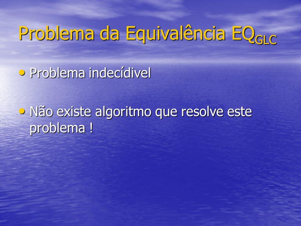 Problema da Equivalência EQ GLC Problema indecídivel Problema indecídivel Não existe algoritmo que resolve este problema ! Não existe algoritmo que re