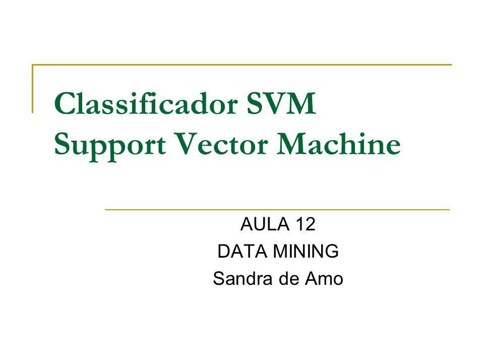 Classificador SVM Consiste no vetor w e no escalar b que caracterizam o melhor hiperplano separador.