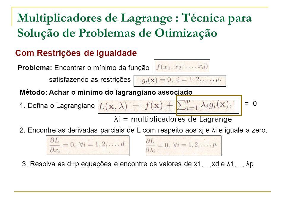 Multiplicadores de Lagrange : Técnica para Solução de Problemas de Otimização Com Restrições de Igualdade Problema: Encontrar o mínimo da função satis