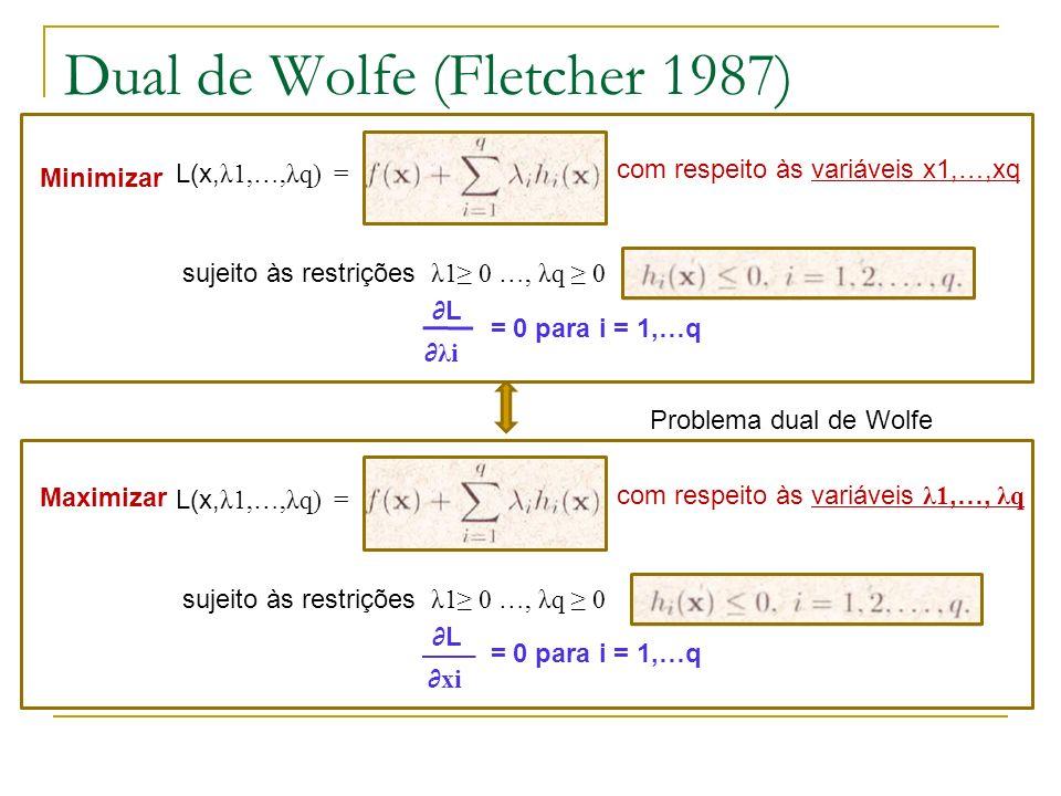 Dual de Wolfe (Fletcher 1987) Minimizar L(x, λ1,…,λq) = sujeito às restrições λ1 0 …, λq 0 com respeito às variáveis x1,…,xq = 0 para i = 1,…q Maximiz