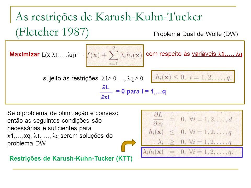 As restrições de Karush-Kuhn-Tucker (Fletcher 1987) Maximizar L(x, λ1,…,λq) = sujeito às restrições λ1 0 …, λq 0 com respeito às variáveis λ1,…, λq L