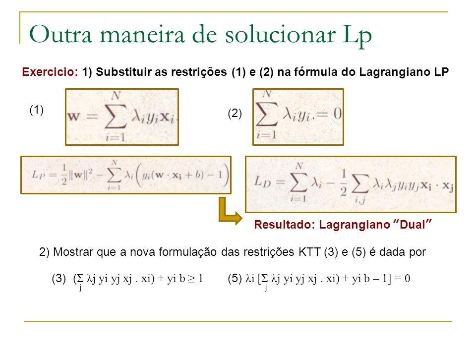 Outra maneira de solucionar Lp Exercicio: 1) Substituir as restrições (1) e (2) na fórmula do Lagrangiano LP (1) (2) Resultado: Lagrangiano Dual 2) Mo