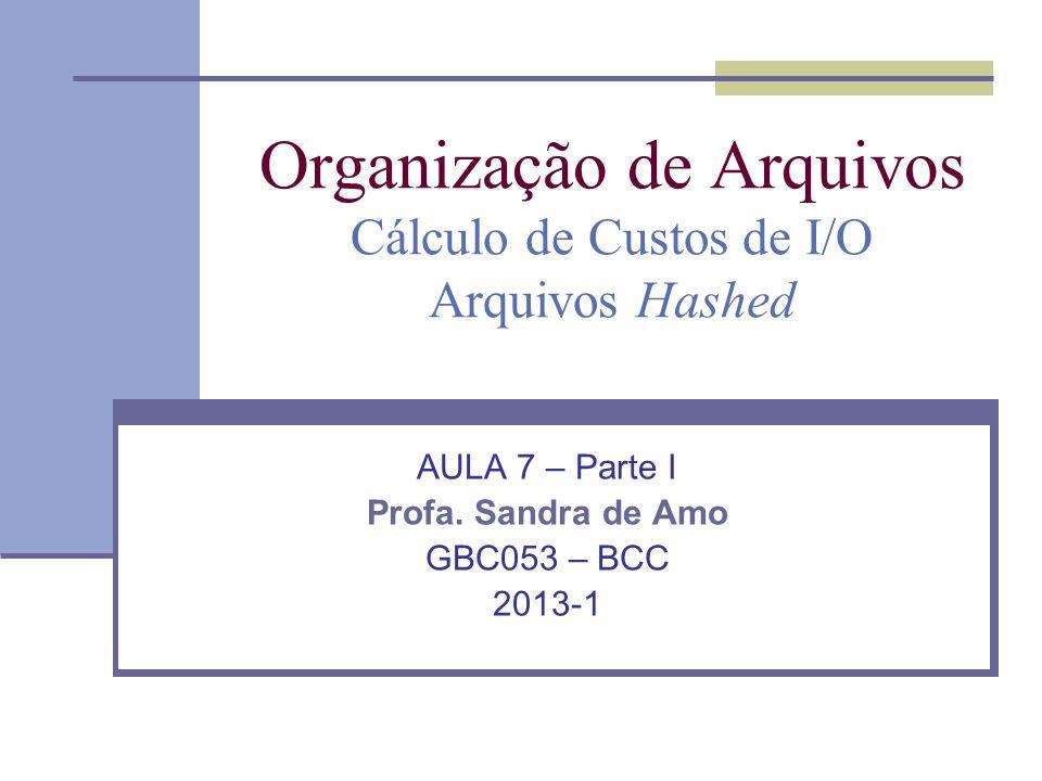 Organização de Arquivos Cálculo de Custos de I/O Arquivos Hashed AULA 7 – Parte I Profa.