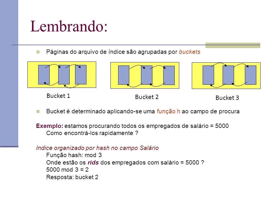 Lembrando: Páginas do arquivo de índice são agrupadas por buckets Bucket é determinado aplicando-se uma função h ao campo de procura Exemplo: estamos procurando todos os empregados de salário = 5000 Como encontrá-los rapidamente .