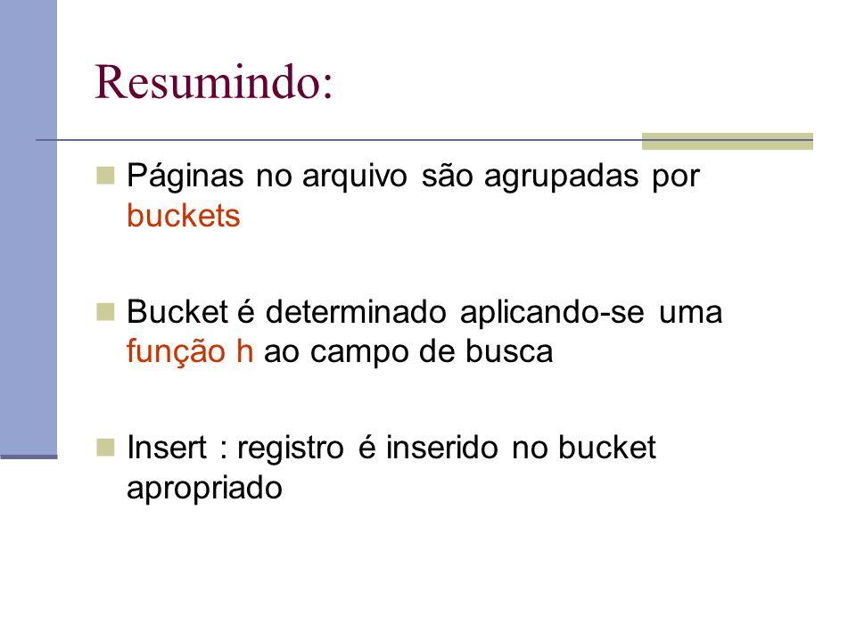 Resumindo: Páginas no arquivo são agrupadas por buckets Bucket é determinado aplicando-se uma função h ao campo de busca Insert : registro é inserido no bucket apropriado