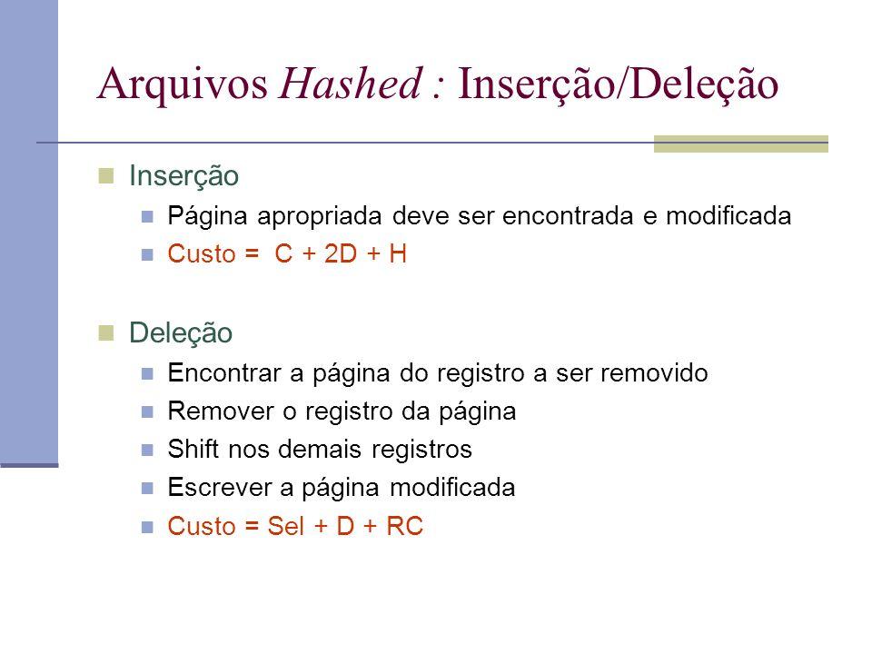 Arquivos Hashed : Inserção/Deleção Inserção Página apropriada deve ser encontrada e modificada Custo = C + 2D + H Deleção Encontrar a página do registro a ser removido Remover o registro da página Shift nos demais registros Escrever a página modificada Custo = Sel + D + RC