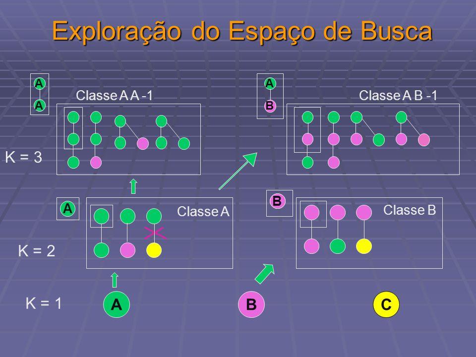 Exploração do Espaço de Busca ABC K = 1 Classe A B -1 A B Classe B B Classe A A K = 2 Classe A A -1 A A K = 3