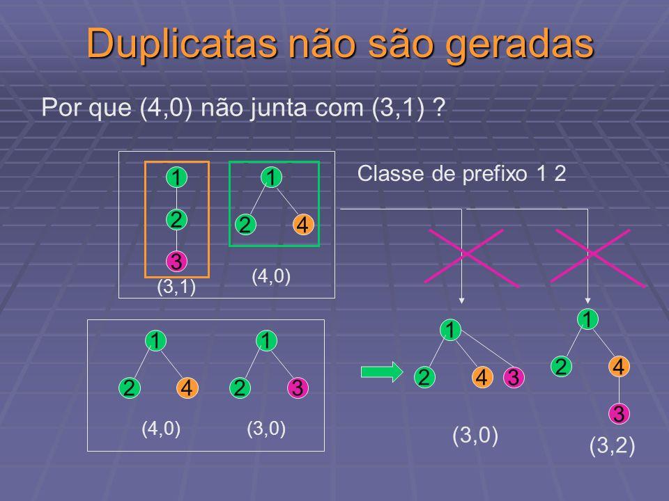 Duplicatas não são geradas Classe de prefixo 1 2 1 2 3 4 1 2 (3,1) 4 1 2 3 3 1 2 (3,2) (4,0) Por que (4,0) não junta com (3,1) ? 4 1 2 3 (3,0) (4,0) 4