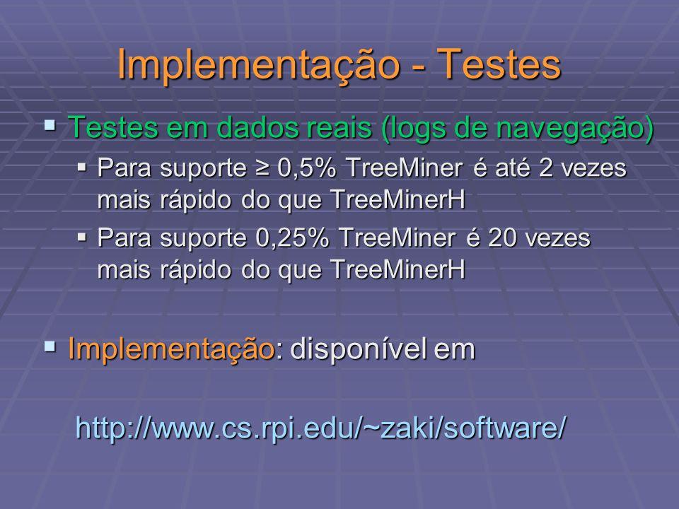 Implementação - Testes Testes em dados reais (logs de navegação) Testes em dados reais (logs de navegação) Para suporte 0,5% TreeMiner é até 2 vezes m