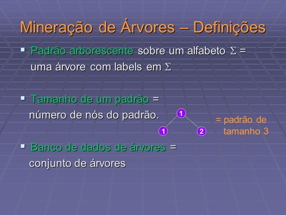 Inclusão de padrão numa árvore Padrão arborescente mergulhado numa árvore de dados Padrão arborescente mergulhado numa árvore de dados 0 1 2 2 3 12 n0 n1 n2 n5 n6 n3 n4 0 1 3 1 -1 2 -1 -1 2 -1 -1 2 -1 1 1 2 Match label = (1,3,4) Matchlabel = (1,3,5) Match label = (1,3,5) 1 1 -1 2 -1 Árvore T Padrão arborescente S