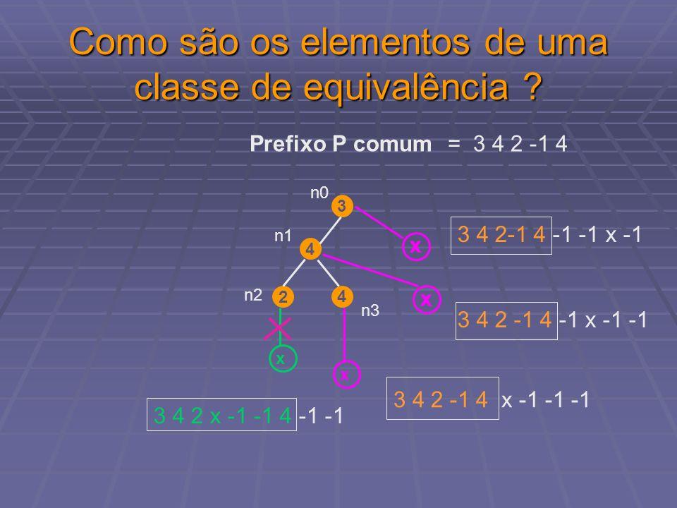 Como são os elementos de uma classe de equivalência ? Prefixo P comum = 3 4 2 -1 4 3 4 4 2 n1 n0 x x x x n3 n2 3 4 2 -1 4 x -1 -1 -1 3 4 2 -1 4 -1 x -